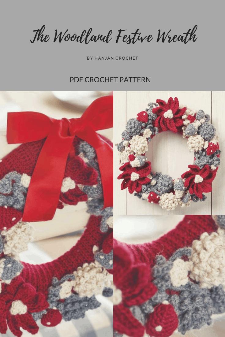 Christmas Wreath, Festive, Project, Pattern, Tutorial, Poinsetta Wreath, Crocheted Gift crochet pattern by Hannah Cross