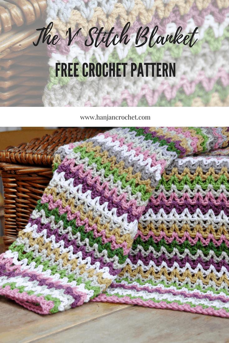 V stitch crochet blanket free crochet pattern