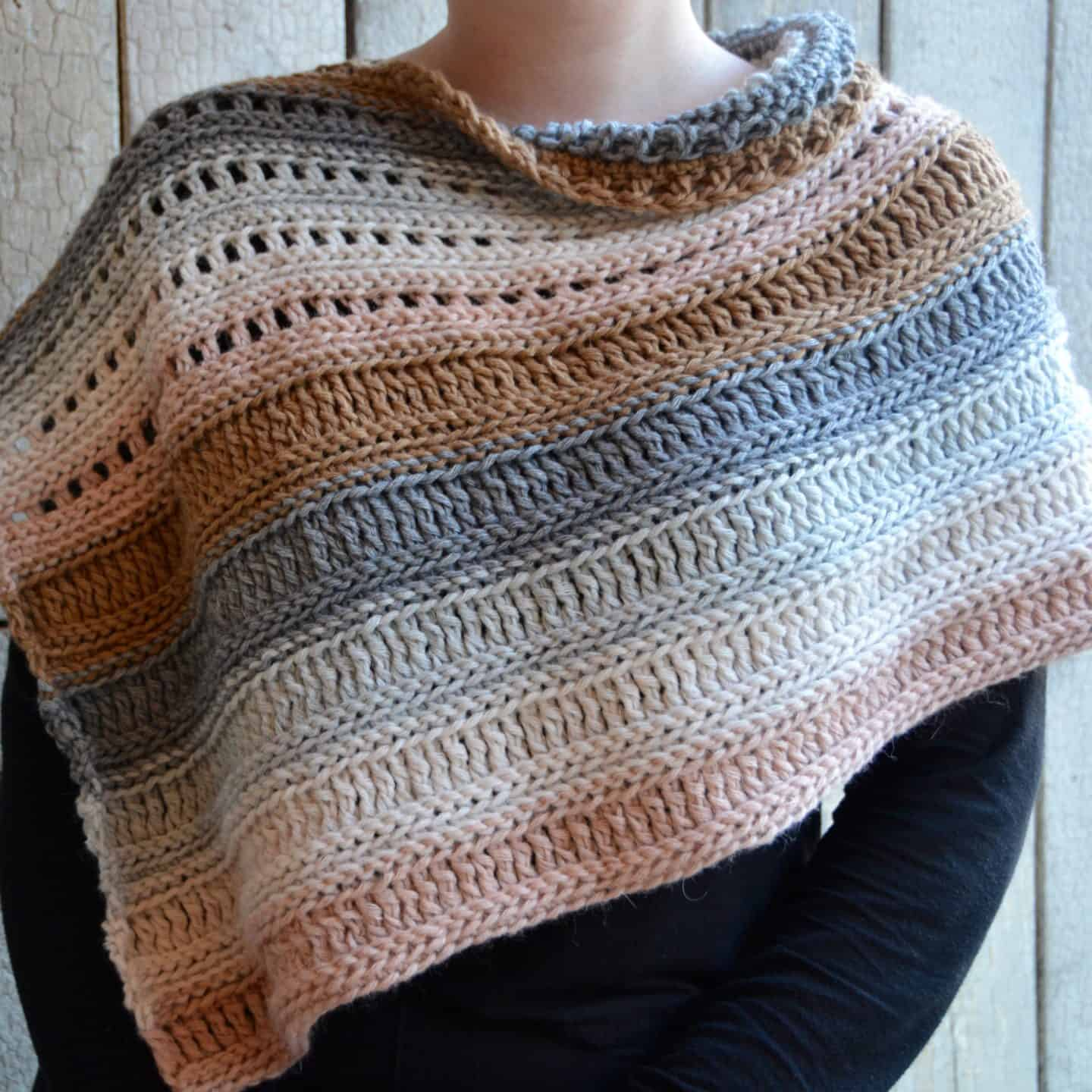 Learn to crochet the Coffee Shop Wrap with a free crochet poncho pattern