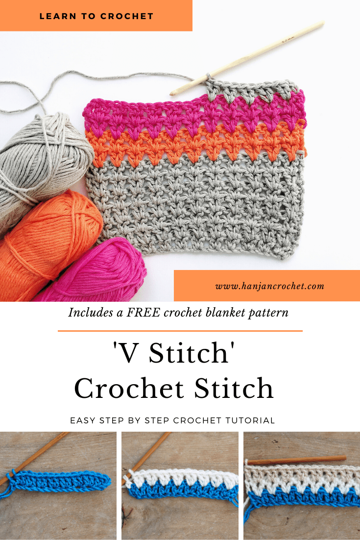 Learn to crochet the V stitch with this step by step crochet tutorial for beginners which also includes a free blanket pattern. A perfect stitch for baby blankets, home decor, scarves and cardigans this is a classic crochet stitch which everyone can learn.
