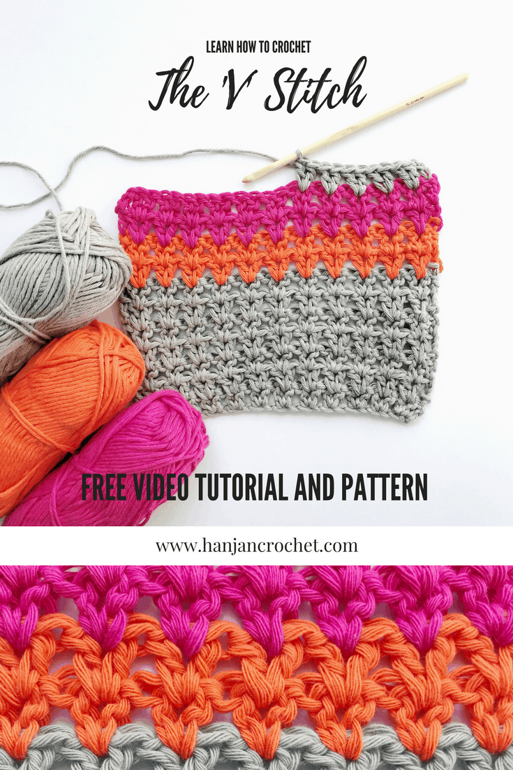 learn hot to crochet v stitch free video tutorial