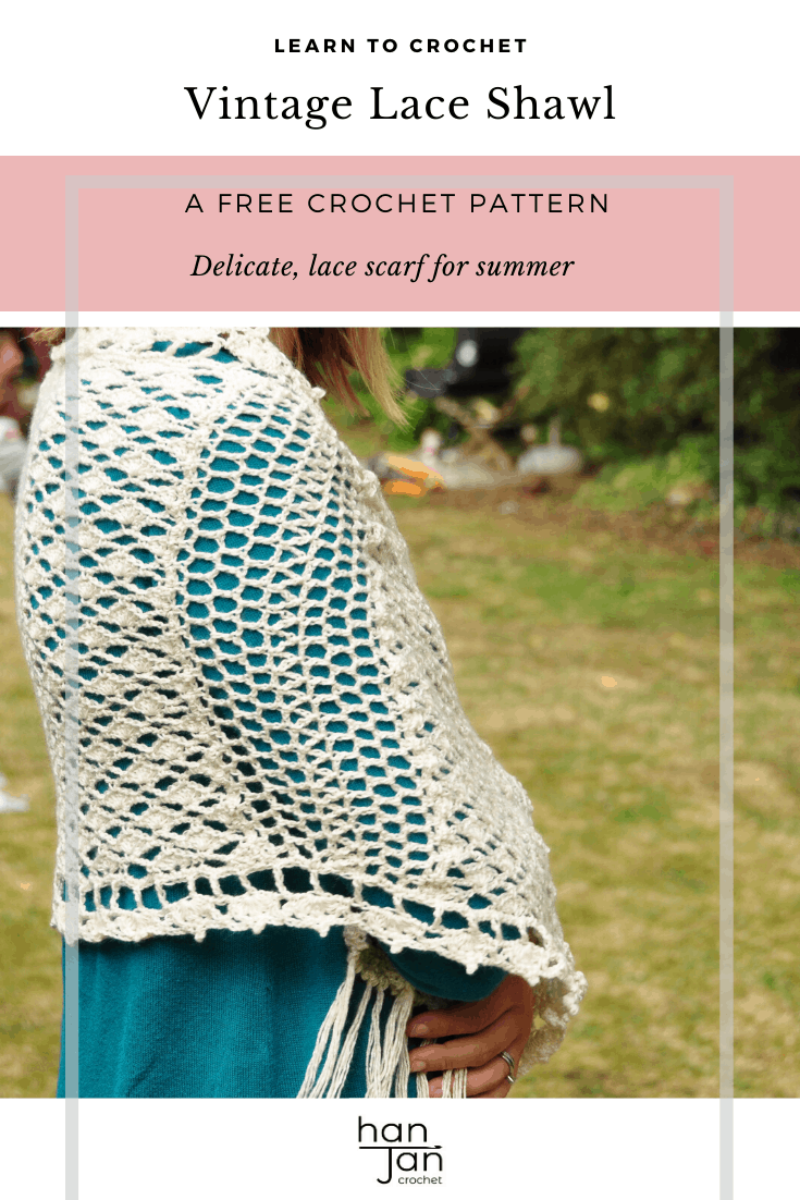 Enjoy the free crochet pattern for the Vintage Lace Shawl from HanJan Crochet. The beautifully delicate lace crochet shawl comes with a step by step stitch tutorial and written pattern. Perfect for summer days and evenings too with a soft, romantic style to complement any outfit. #crochetshawl #vintagelace #crochetlace