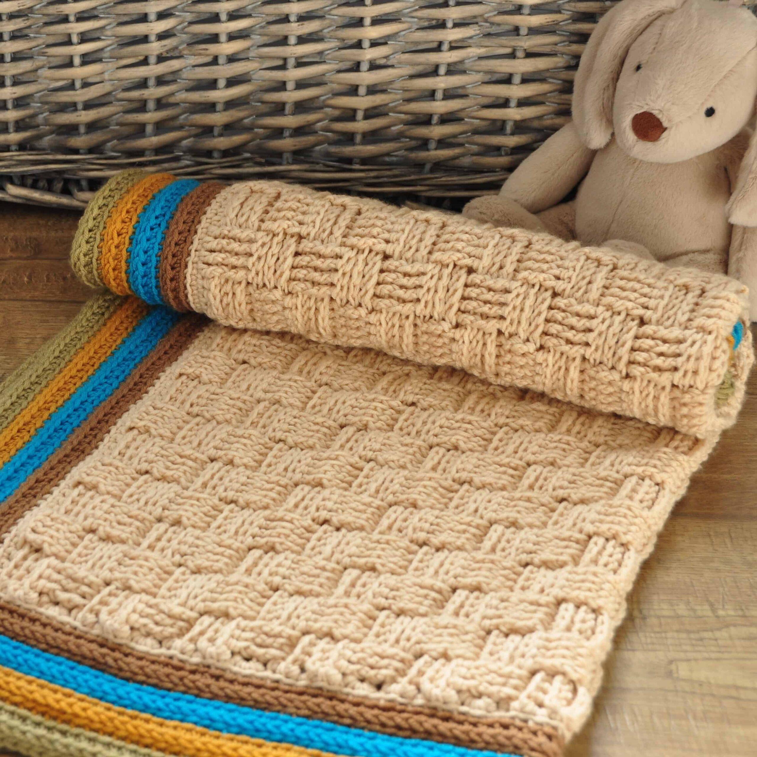 crochet basketweave stitch blanket, retro baby blanket by Hannah Cross