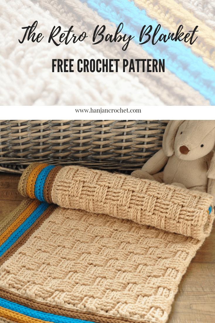 The Retro Baby Blanket free basketweave stitch crochet blanket pattern from HanJan Crochet Hannah Cross