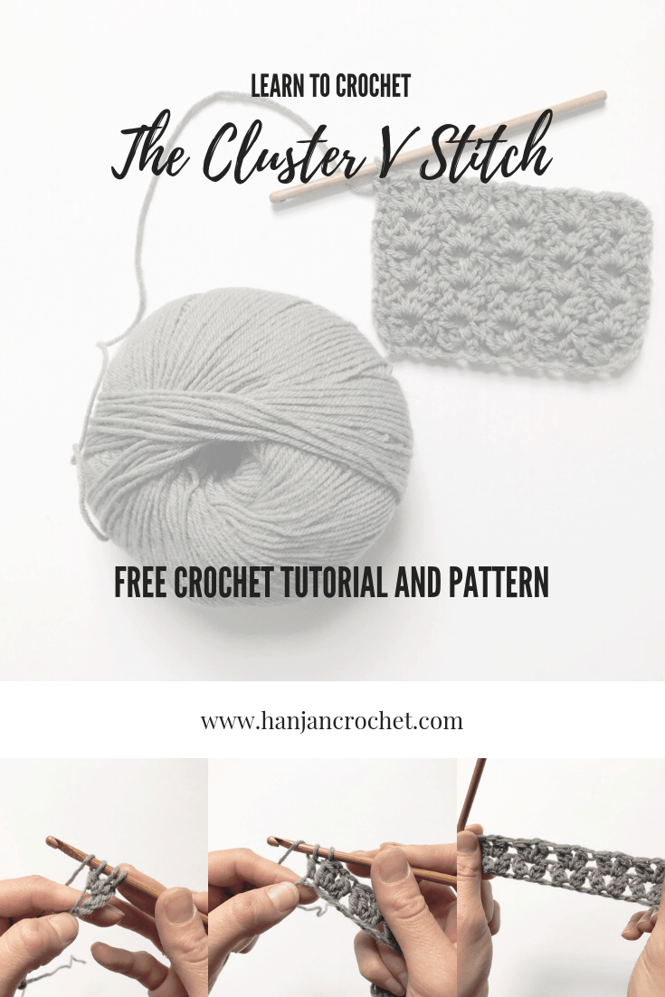 how to crochet the cluster V stitch free tutorial and pattern