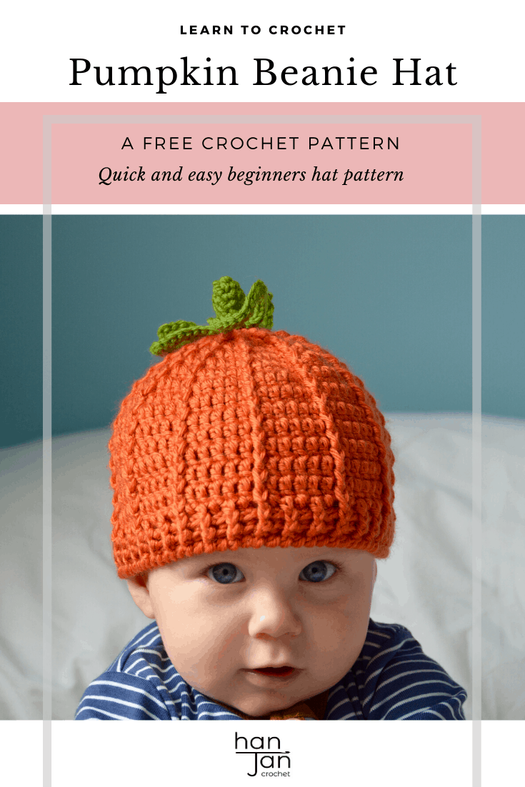 Learn to crochet a baby pumpkin hat for Halloween and Fall with this free crochet pattern by HanJan Crochet. In sizes newborn baby to child, it even has a stalk and leaf on top! Perfect for beginners or anyone wanting a quick crochet project.