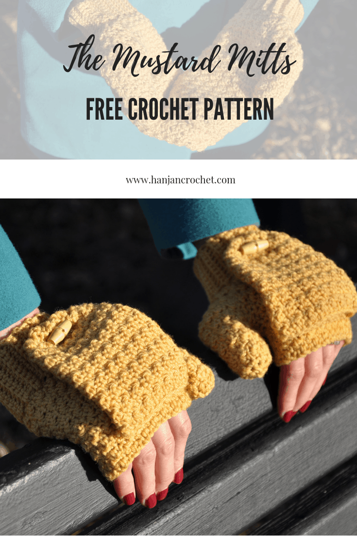 free crochet pattern, Hannah Cross, HanJan Crochet, winter mustard mitts