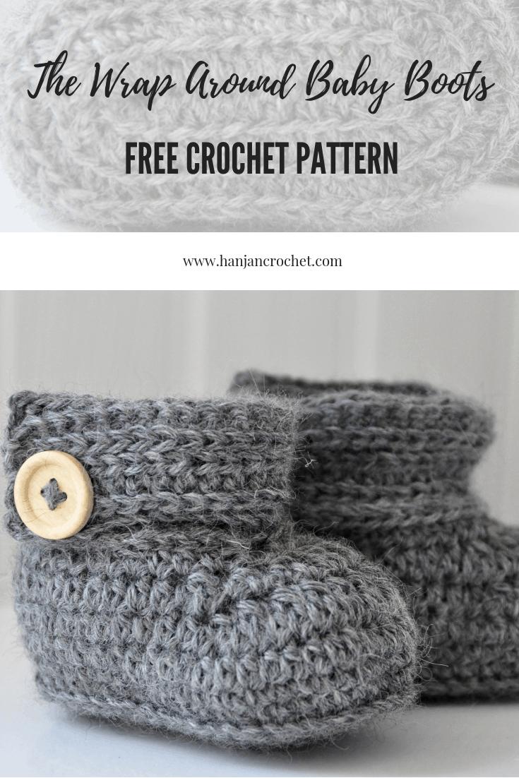free crochet pattern wrap around baby boots
