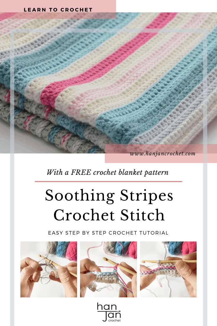 Learn to crochet an easy beginner crochet baby blanket with this free crochet pattern and step by step stitch tutorial from HanJan Crochet. The Soothing Stripes Baby Blanket has the perect combination of slip stitch and single crochet detail to give you a stunning knit look blanket for any new arrival.