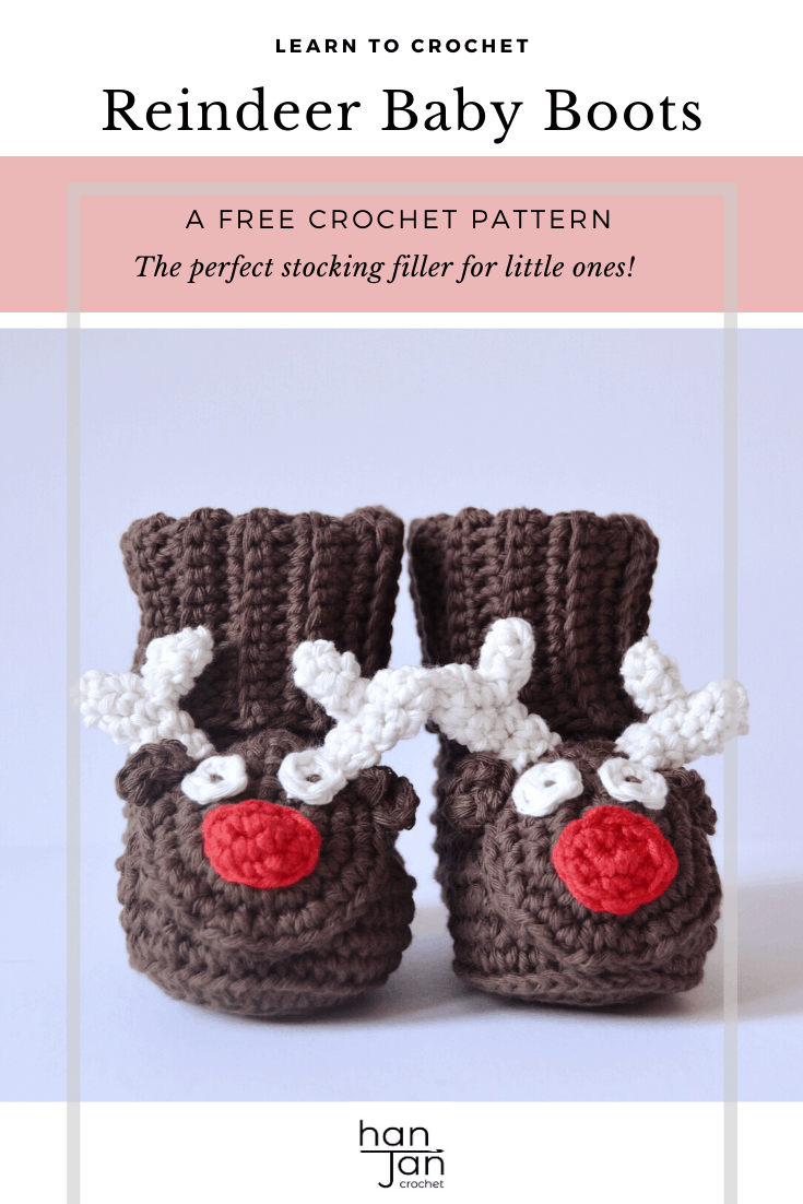 Learn to crochet these cute reindeer boots for babies and children this Christmas with this free crochet pattern by HanJan Crochet. With a step by step tutorial they are a great pattern for beginners. Perfect for festive slippers, a great stocking filler and even for a Christmas photo shoot prop!