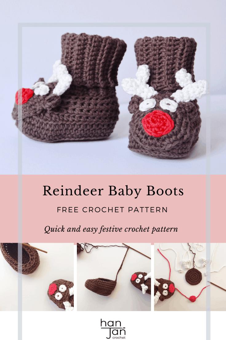 Reindeer Crochet Baby Booties Pattern