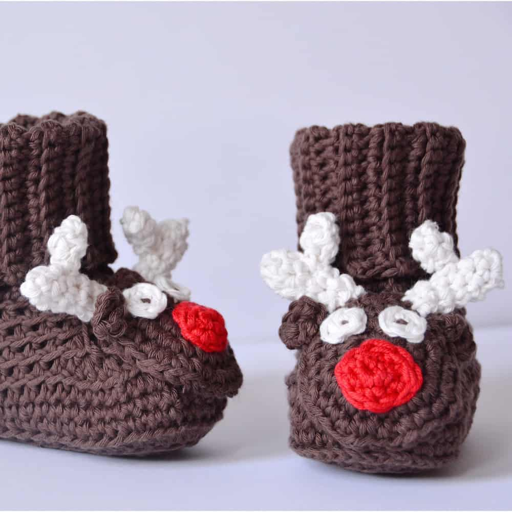 Free crochet pattern reindeer baby boots