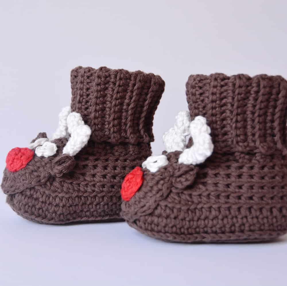 crochet baby boots reindeer