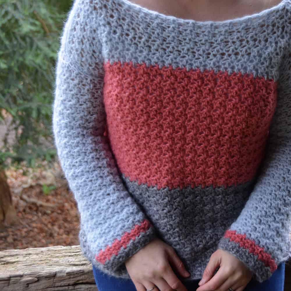 Colour block jumper, color block sweater free crochet pattern Hannah Cross