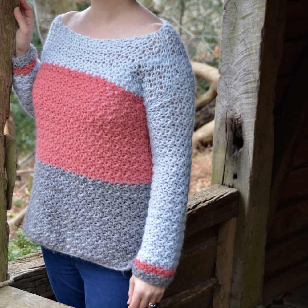 colour block jumper, color block sweater free crochet pattern