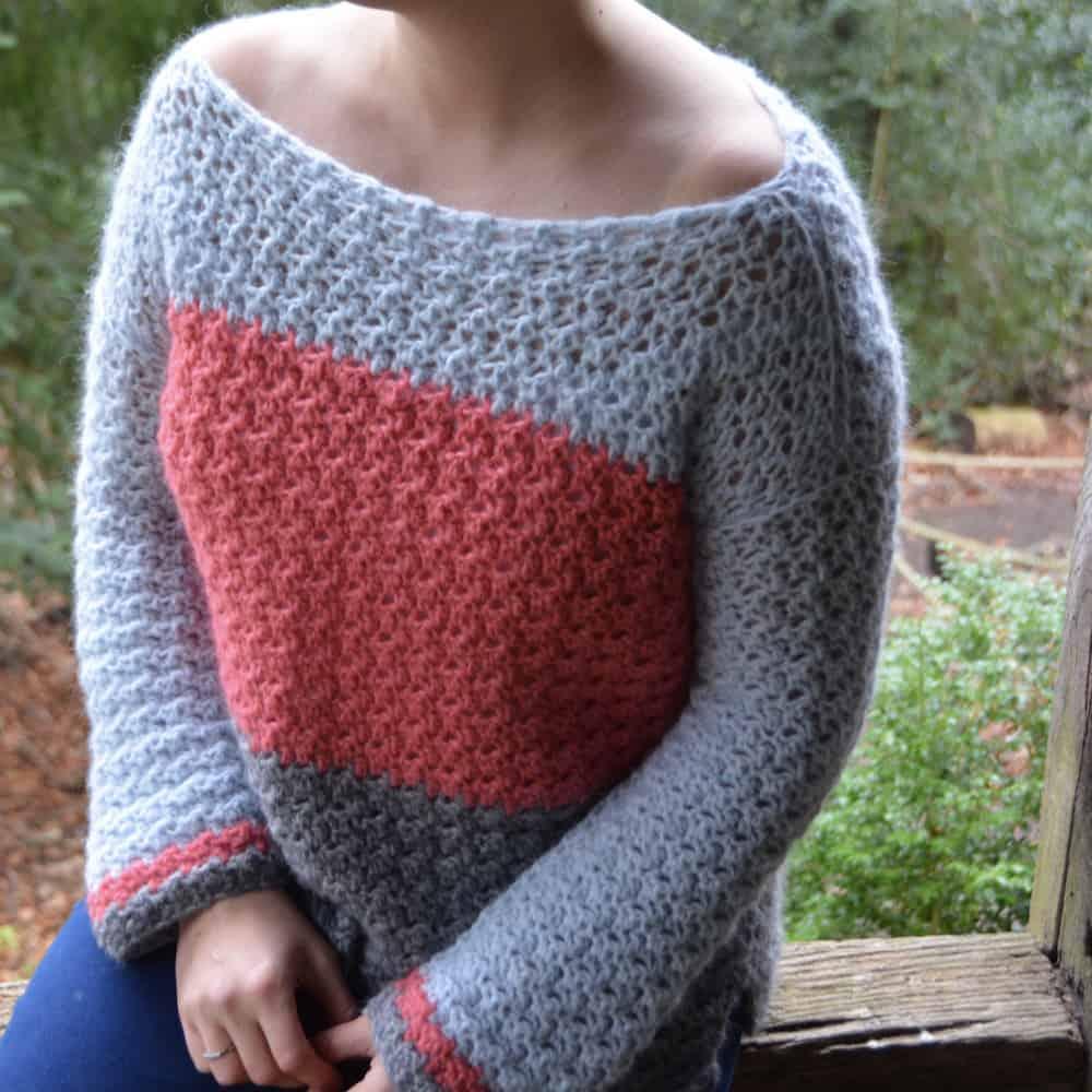 Colour Block Jumper, Color Block Sweater free crochet pattern by Hannah Cross