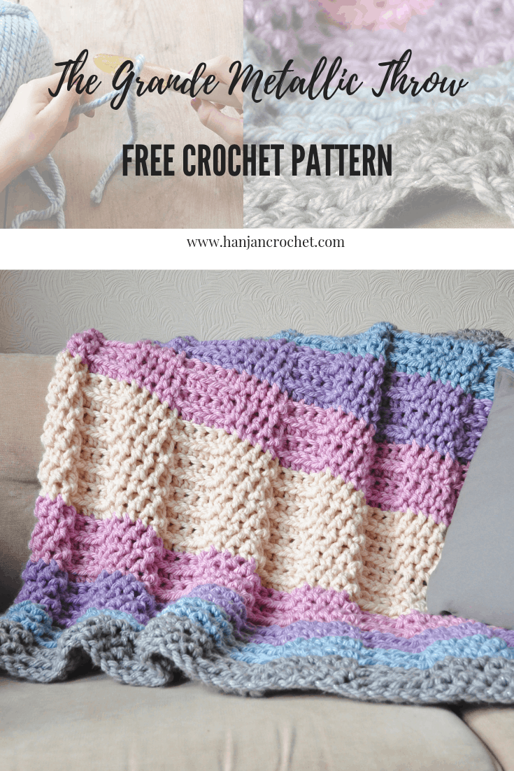 Grande Metallic Throw knit look crochet throw blanket free pattern by Hannah Cross