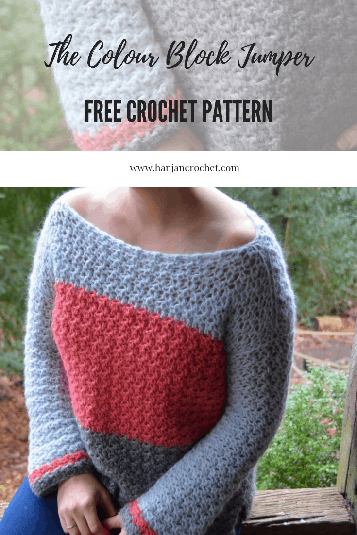 The Colour Block Jumper - The Color Block Sweater. A free crochet pattern from Hannah Cross
