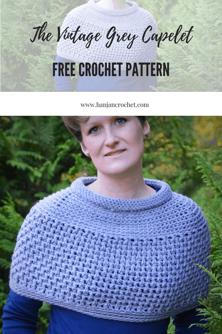 free crochet pattern Hannah Cross vintage grey capelet