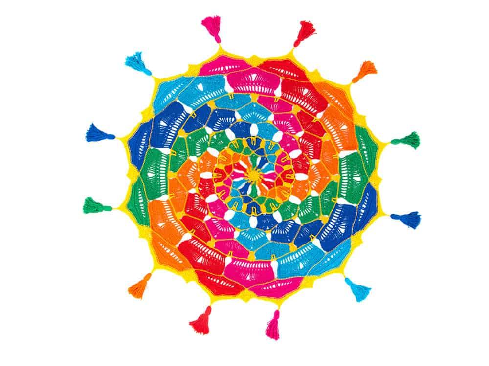 Free crochet pattern Kaleidoscope Mandala Throw CAL by Hannah Cross and Deramores