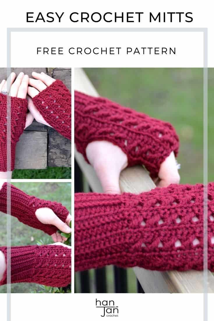 burgundy red lace crochet mittens pattern