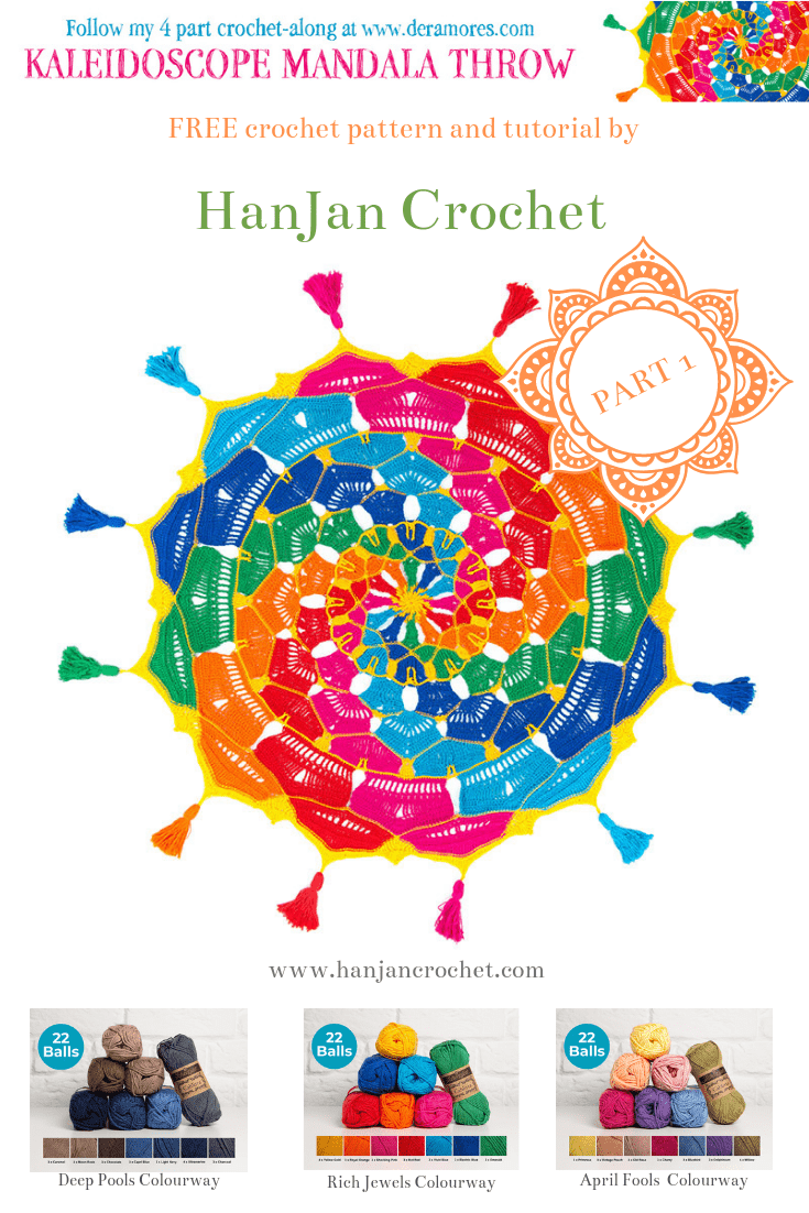 Kaleidoscope Mandala CAL free crochet pattern by Hannah Cross for Deramores. Free CAL