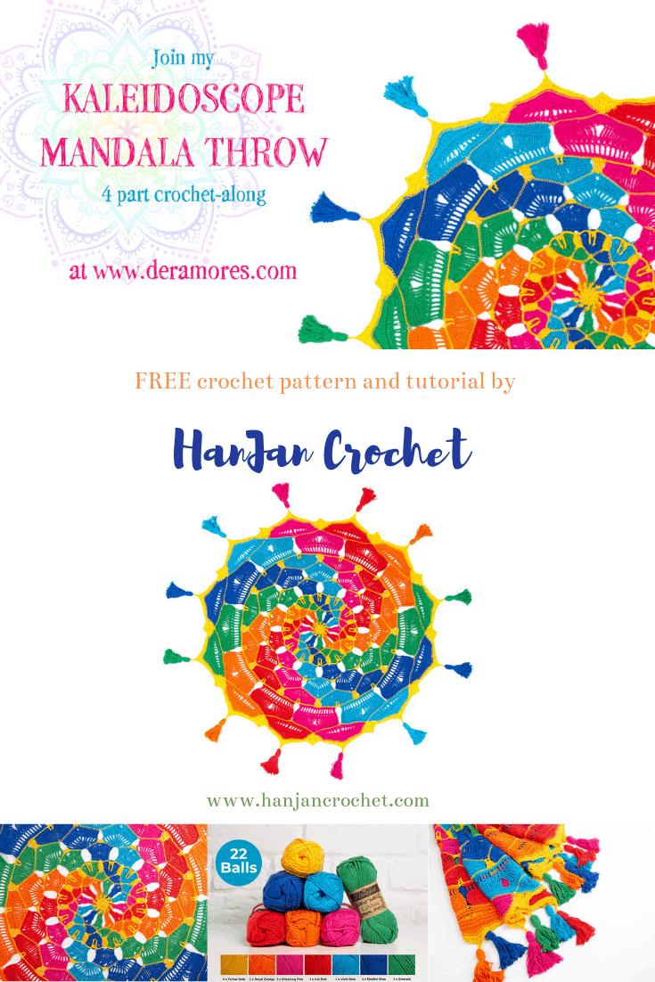 Kaleidoscope Mandala Throw CAL free crochet pattern by Hannah Cross and Deramores