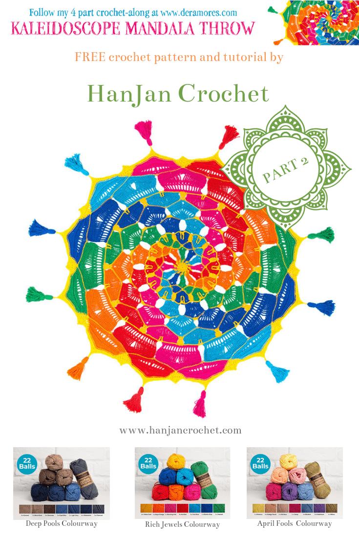 Kaleidoscope Mandala Throw CAL Part Two. Free crochet pattern by HanJan Crochet and Deramores.