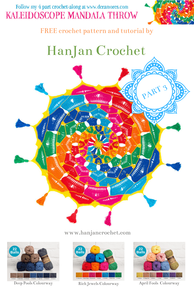 Kaleidoscope Mandala Throw CAL crochet along by Hannah Cross HanJan Crochet and Deramores. Free crochet pattern. Free home crochet pattern. Learn to crochet.
