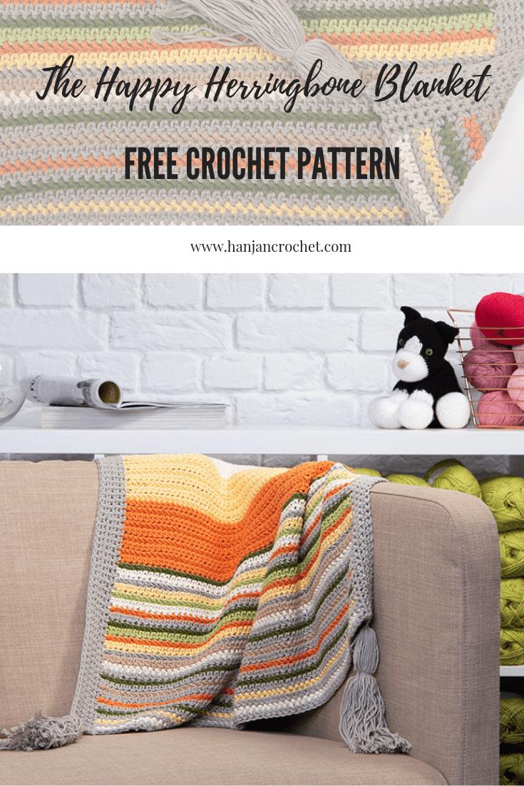 Free crochet blanket pattern Hannah Cross happy herringbone blanket. Easy beginner crochet pattern