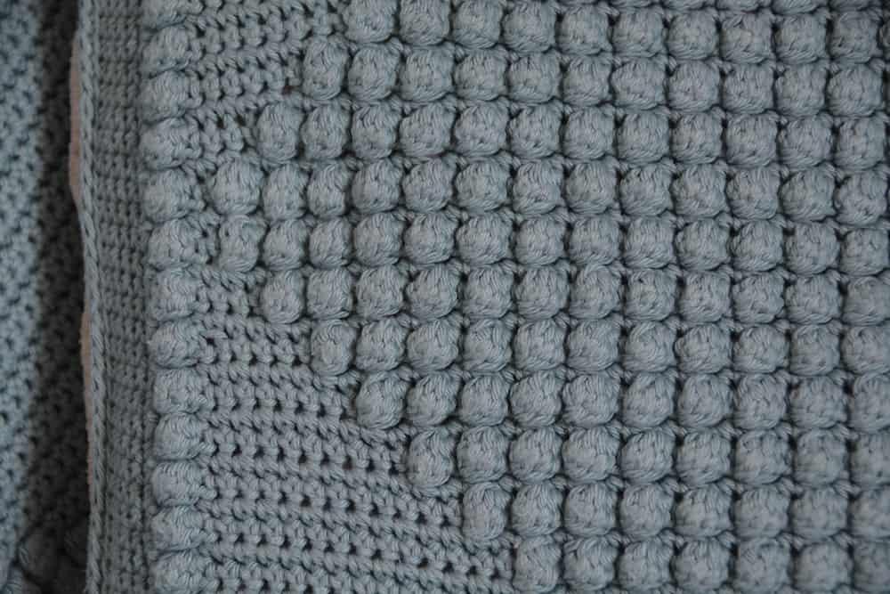 close up of a crochet bobble stitch
