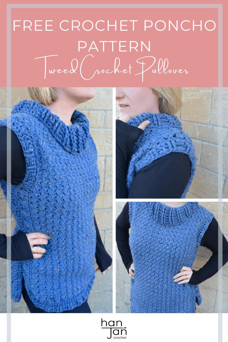 Tweed Crochet Pullover Poncho Pattern 3