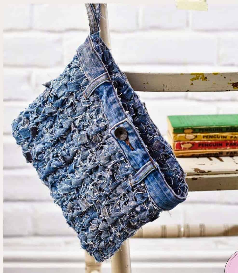 How to make jeans yarn and then crochet it into a fabulous recycled jeans bag, denim clutch bag. A free how to tutorial and crochet pattern from HanJan Crochet.
