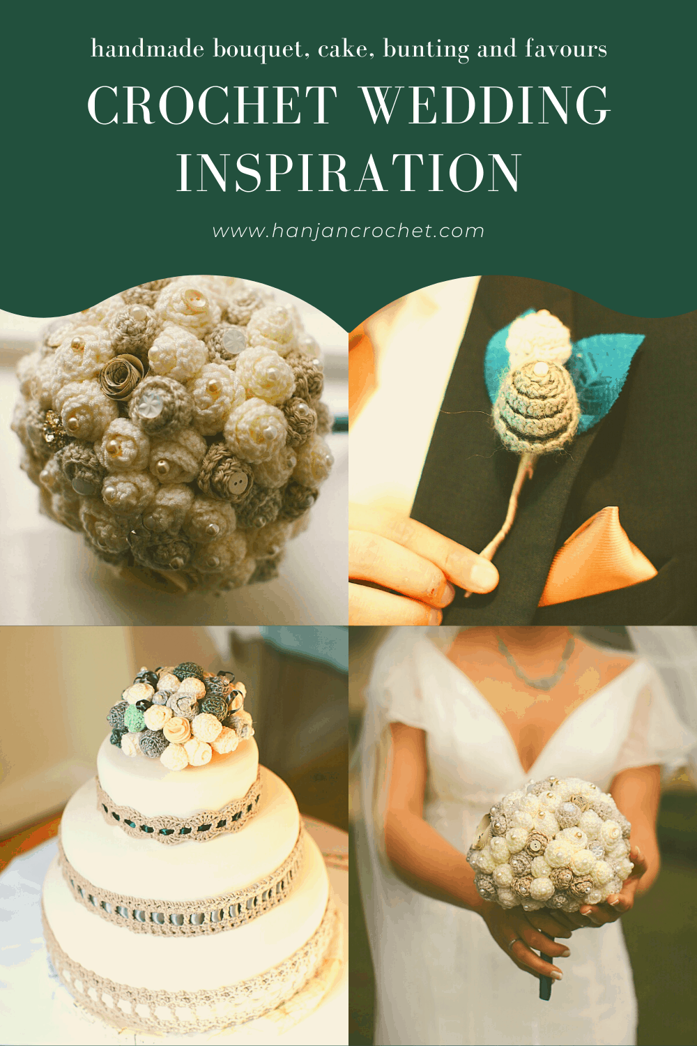 Crochet wedding inspiration for your handmade bouquet, cake, favours, buttonholes and more.
