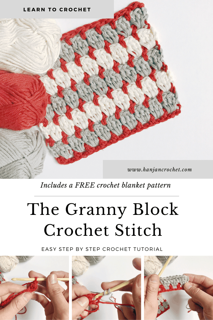 Learn to crochet the granny block crochet stitch with this easy step by step crochet tutorial for beginners. A twist on the classic crochet granny square, the granny block stitch is worked in rows instead of rounds and so is much easier to master. The free crochet blanket pattern and stitch tutorial are in both US and UK crochet terms.
