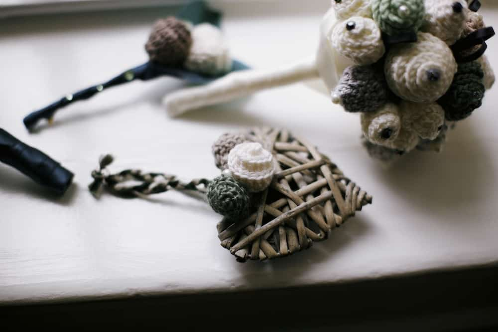 Handmade flower girl wedding bouquet heart for your DIY wedding theme.