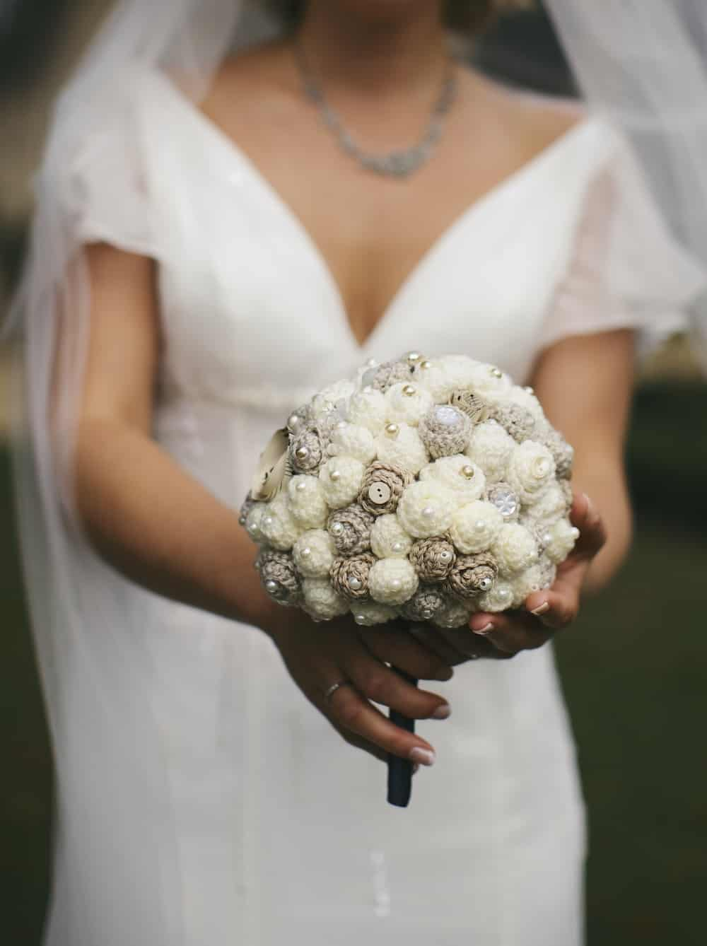 Crochet your own wedding bouquet with this beautiful cream and ivory beaded bouquet.