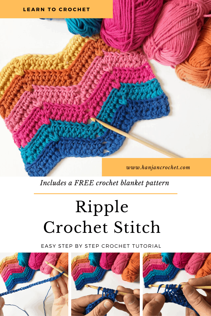 Learn to crochet the ripple stitch with this free crochet tutorial and crochet blanket pattern in both UK and US terms. Feel the retro vibe with bright colours or choose classic tones to make your blanket perfect for you. Great for beginner crocheters.