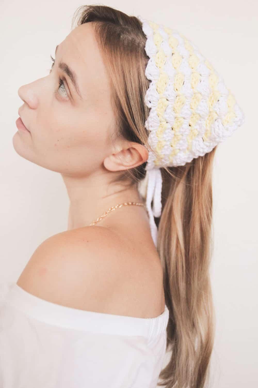 crochet vintage bandana headband, a free crochet pattern