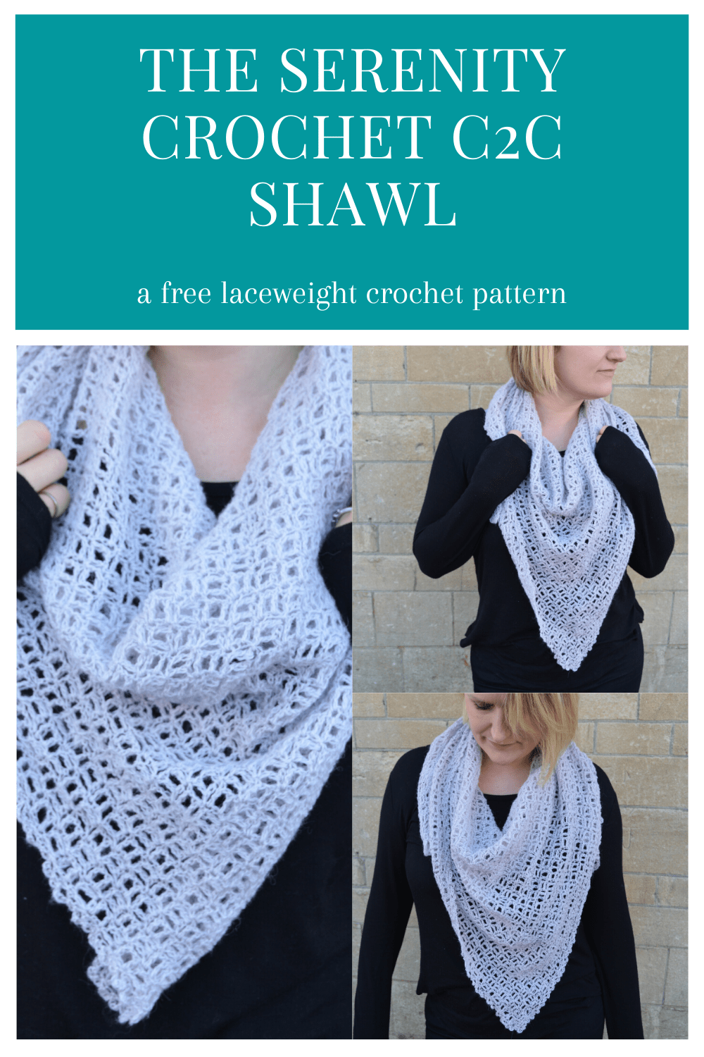 Learn to crochet this lightweight c2c (corner to corner) crochet shawl with this free crochet pattern. The chain spaces in this triangular scarf create a beautiful crochet lace style that is perfect for beginners to achieve. Style it as a traditional shawl or wear as a more modern neck bandana, the choice is yours.