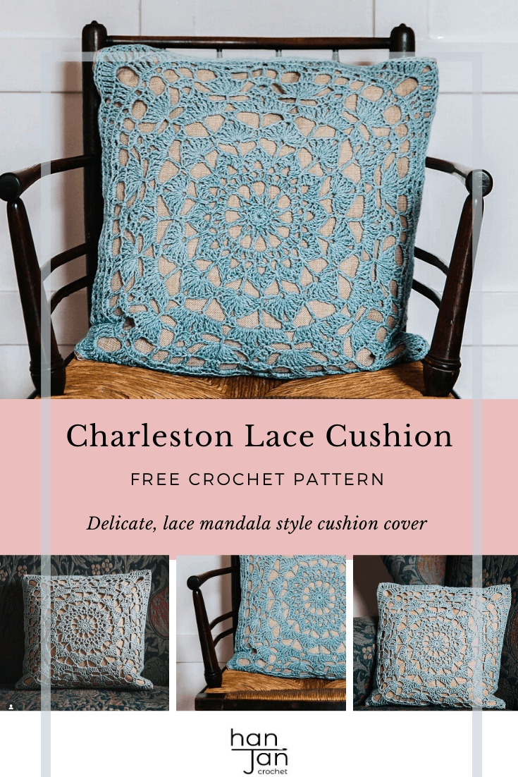 Learn to crochet the Charleston Cushion with this free mandala style cushion pattern. A delicate lace crochet motif cushion on a linen pillow cover to make a stunning addition to your home. A free crochet home decor pattern.