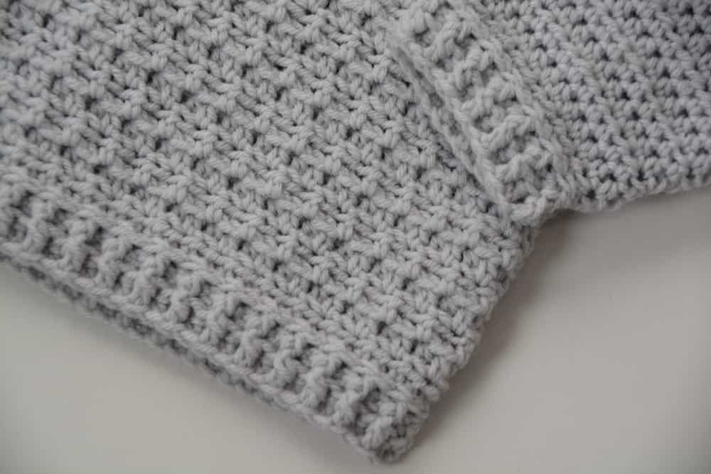 modern baby crochet jumper cuff and sleeve detail