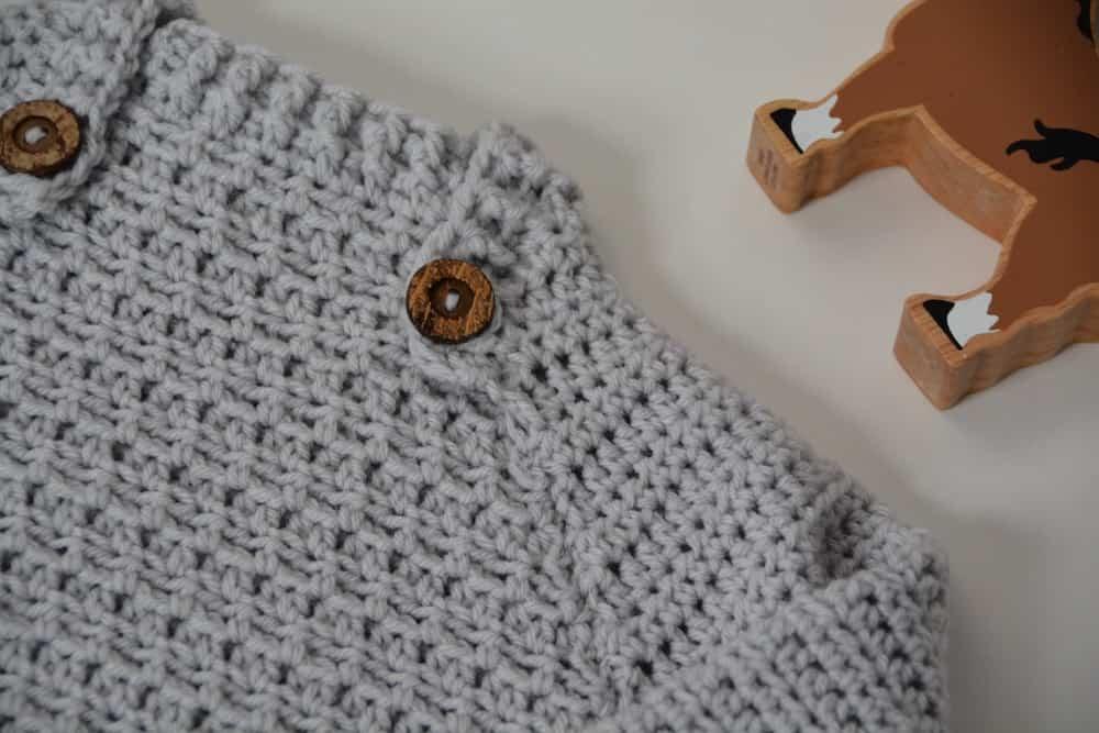 modern baby crochet jumper collar detail