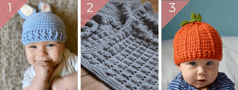 crochet bunny hat, crochet baby blanket, crochet pumpkin beanie hat