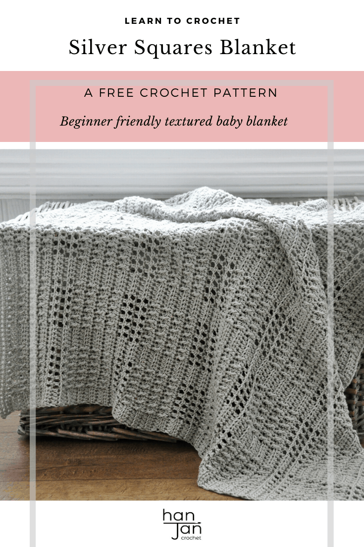 Learn to crochet the stunning Silver Squares Baby Blanket with this free crochet pattern from HanJan Crochet. The perfectly modern yet classic neutral baby blanket for any new arrival. With a simple and rhythmical pattern repeat it's a great crochet pattern for mindfulness and calm.