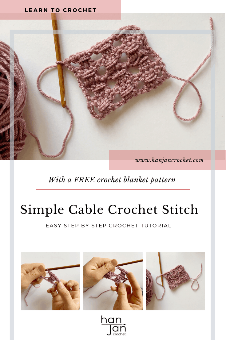Learn to crochet the simple cable stitch with this beginners step by step tutorial by HanJan Crochet. Create a delicate fabric perfect for blankets, scarves and tops. The stitch tutorial includes a free blanket crochet pattern in beautiful vibrant colours, a great project for mindfulness and calm.