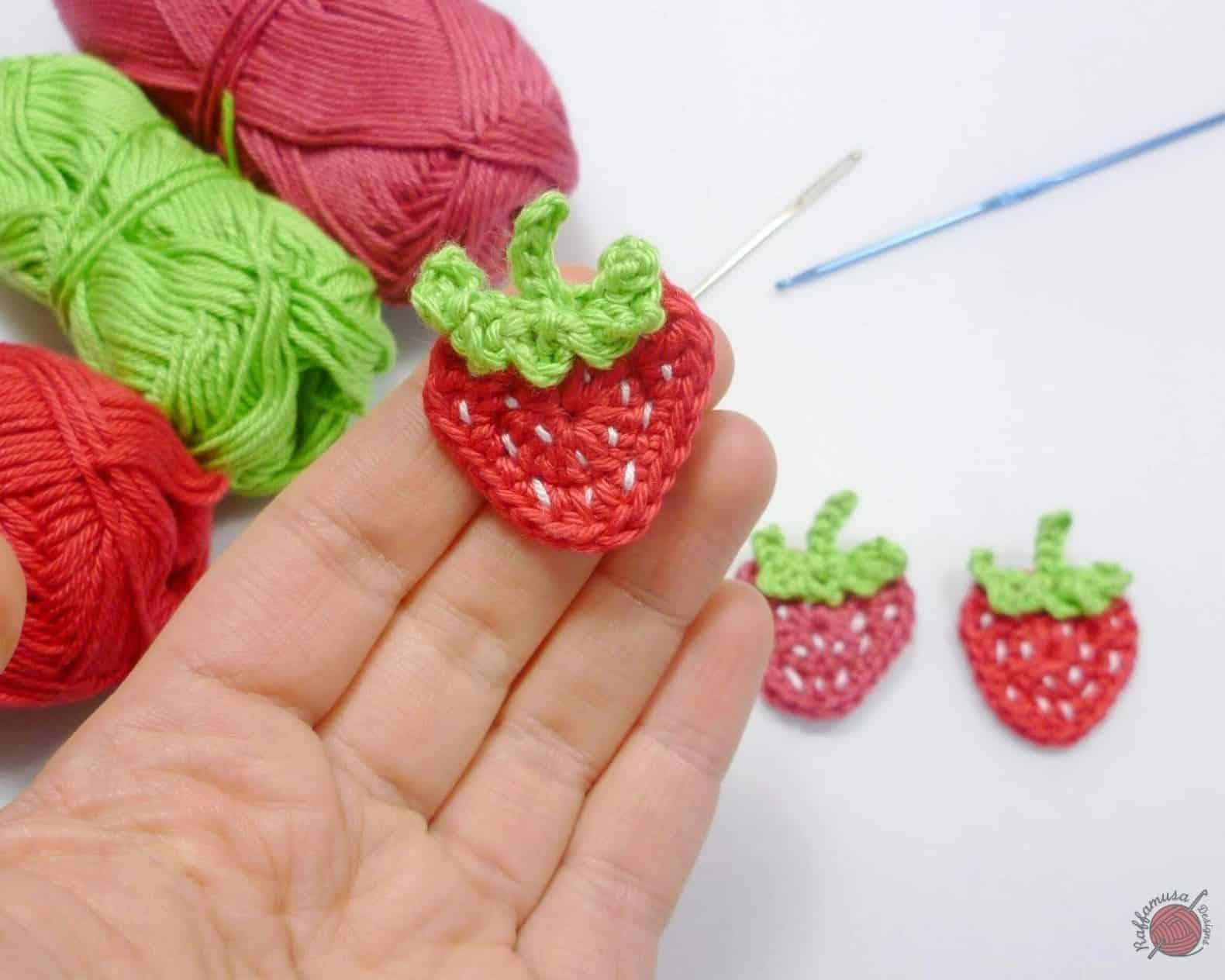 Tiny Crochet Strawberry Applique - a free crochet pattern.