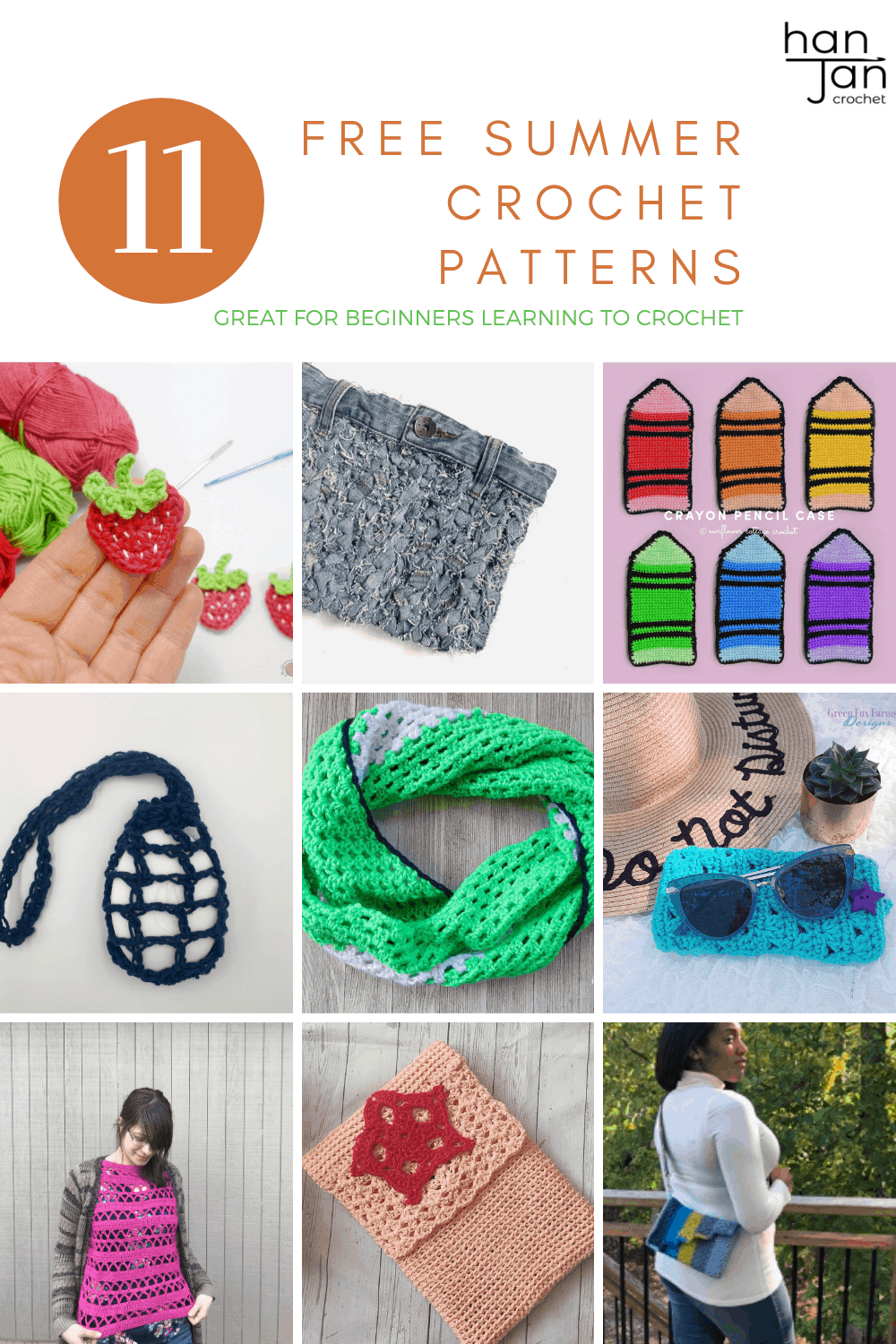 11 free beginner crochet patterns for summer. From bags to cowls and scarves to appliqués, learn to crochet with these fun, fresh patterns.