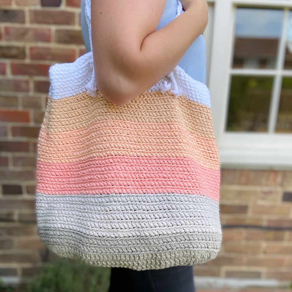 pink, coral and grey stripe crochet beach bag