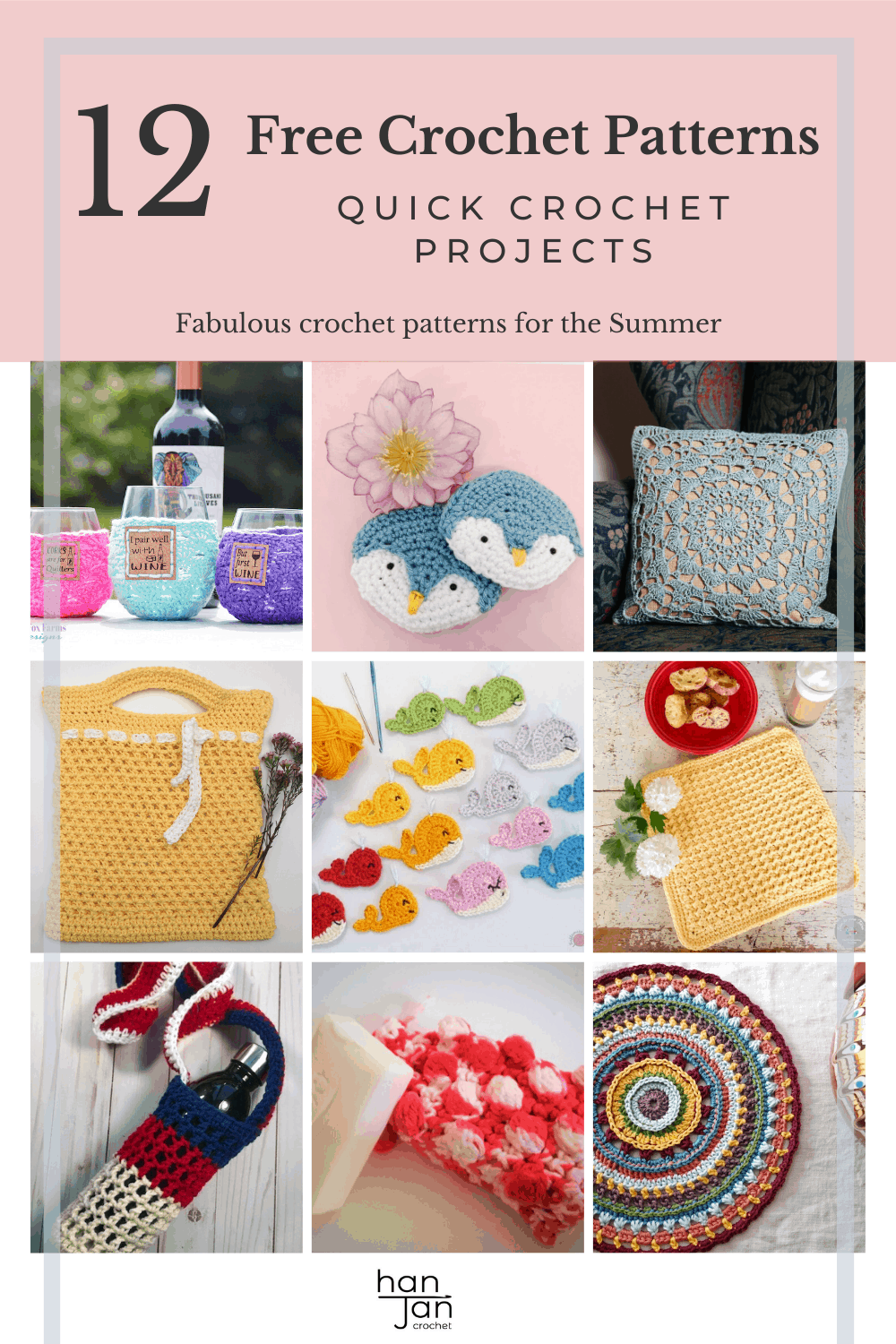 Find 12 quick crochet projects for Summer in the Summer Stitch Along. From crochet bags, dishcloths, mandalas, cushions, scrubbies to appliques, there is a great selection of skill level and project type to suit everyone in this freee crochet pattern collection.